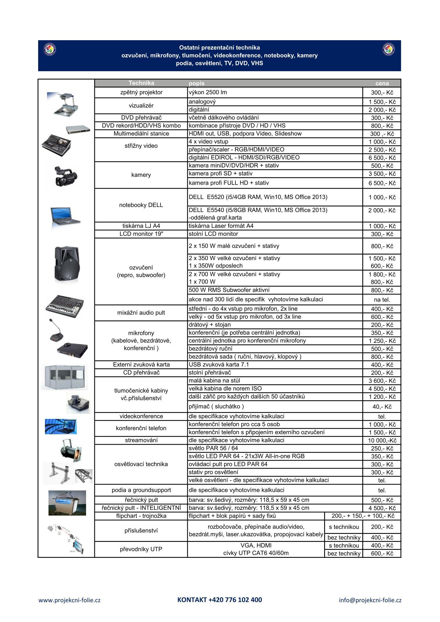 Ceník pronájem AV techniky - str.3