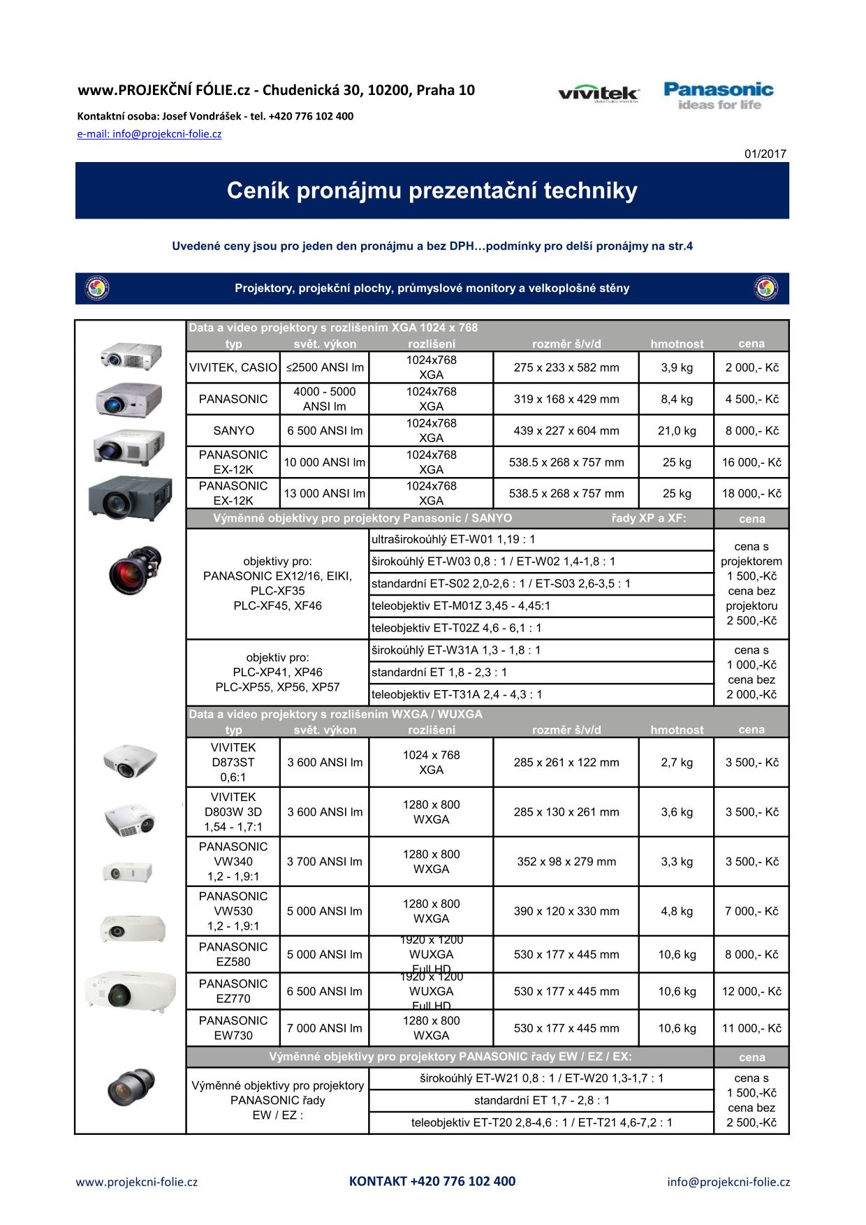 Ceník pronájem AV techniky - str.1