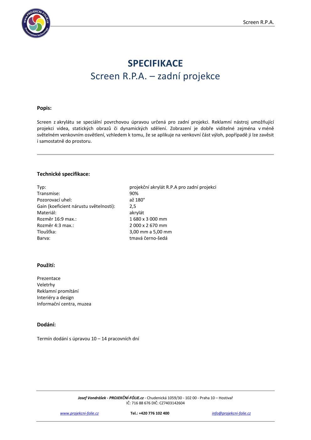Projekce R.P.A.