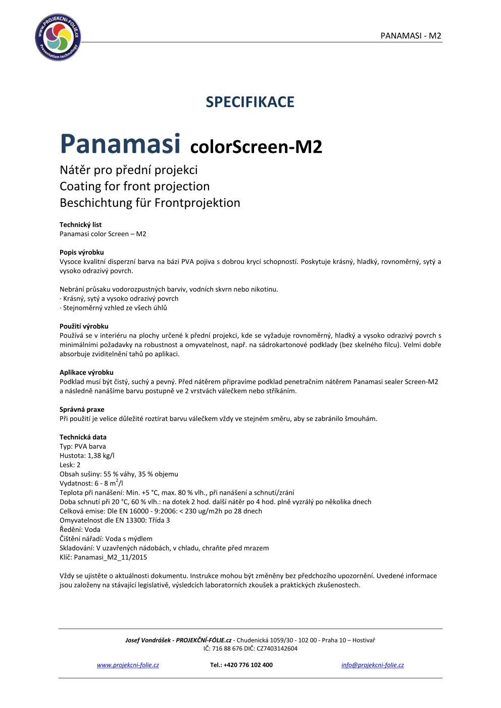 Panamasi M-2 - projekční nátěr